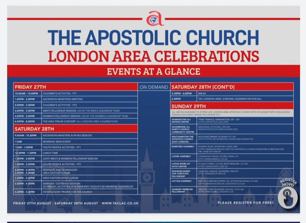 Programme of the London Area Celebrations